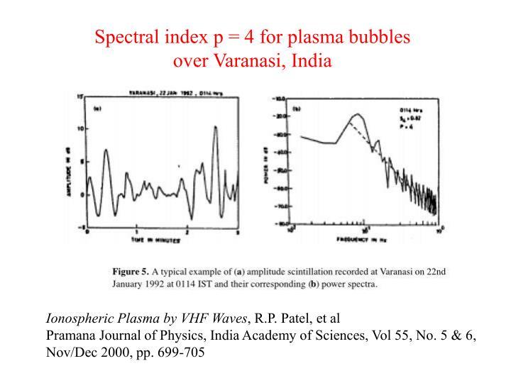 Spectral index p = 4 for plasma bubbles
