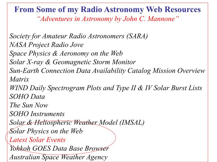 From Some of my Radio Astronomy Web Resources