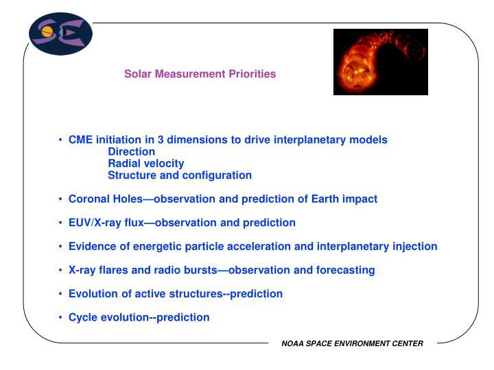 Solar Measurement Priorities