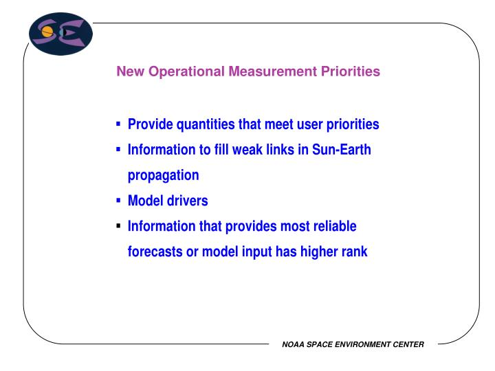 New Operational Measurement Priorities