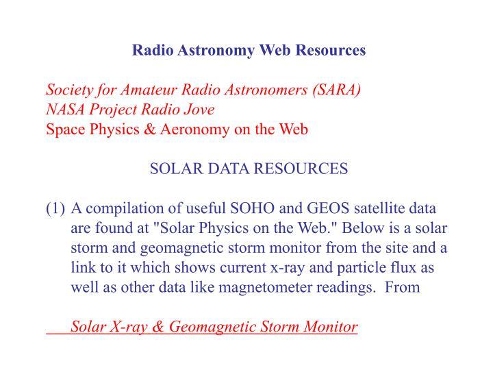 Radio Astronomy Web Resources