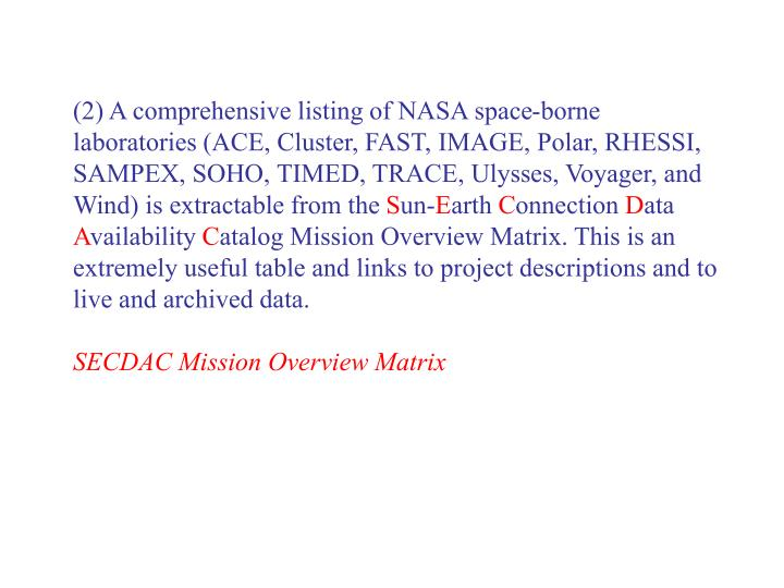 (2) A comprehensive listing of NASA space-borne laboratories (ACE, Cluster, FAST, IMAGE, Polar, RHESSI, SAMPEX, SOHO, TIMED, TRACE, Ulysses, Voyager, and Wind) is extractable from the