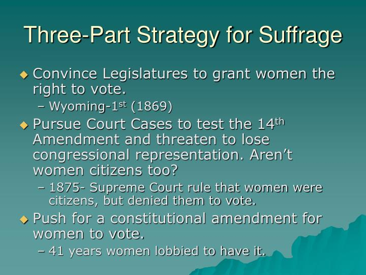 Three-Part Strategy for Suffrage