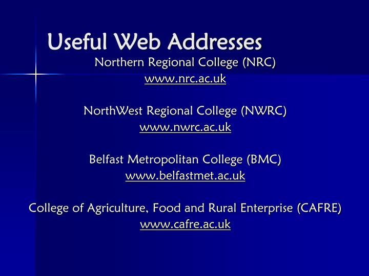 Useful Web Addresses