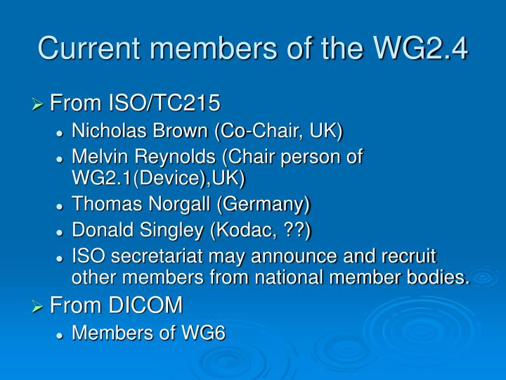 Current members of the WG2.4