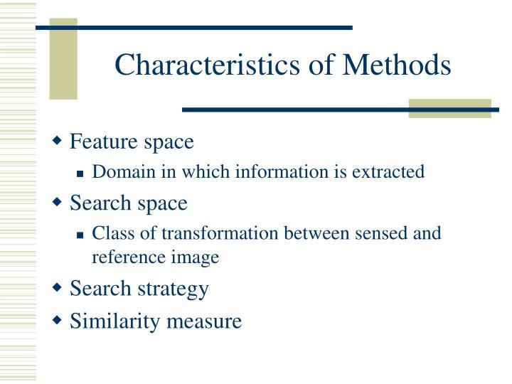 Characteristics of Methods