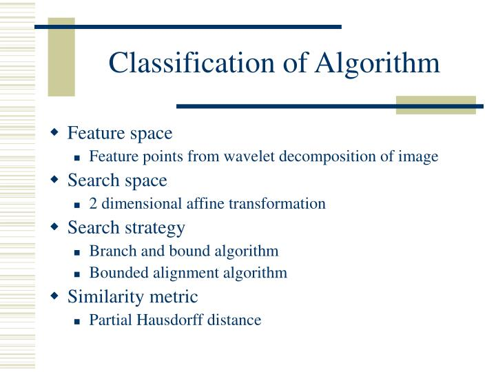 Classification of Algorithm