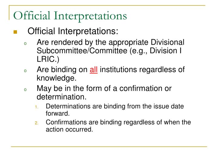 Official Interpretations