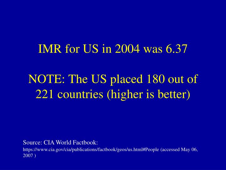 IMR for US in 2004 was 6.37