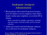 inadequate analgesic administration