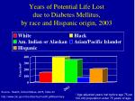 years of potential life lost due to diabetes mellitus by race and hispanic origin 2003