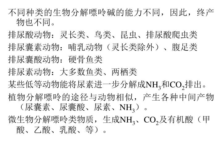 不同种类的生物分解嘌呤碱的能力不同,因此,终产物也不同。