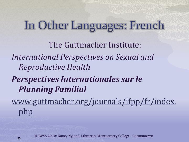 In Other Languages: French