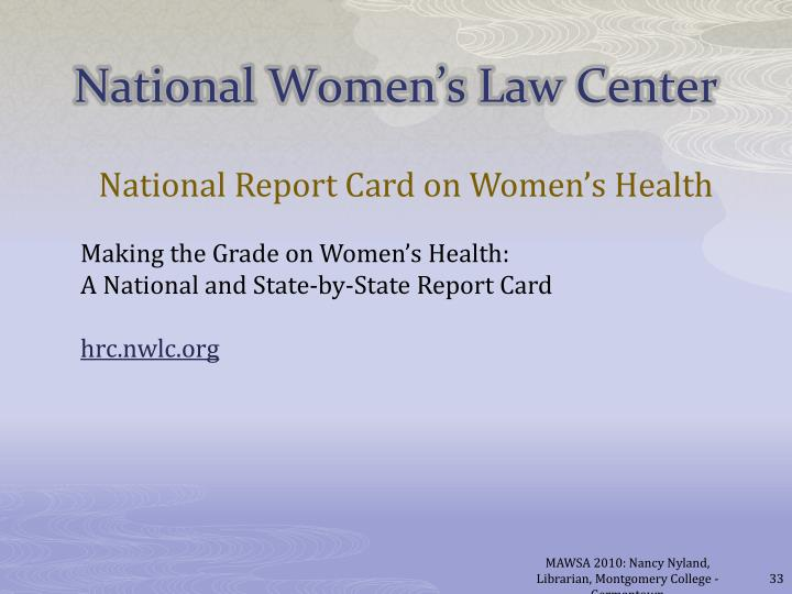 National Report Card on Women's Health