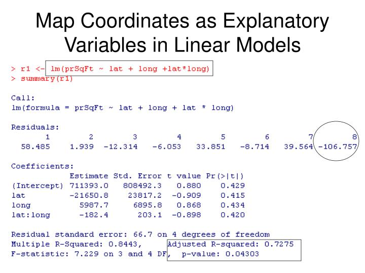 Map Coordinates as Explanatory Variables in Linear Models