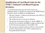 qualification of cord blood units for the nybc s national cord blood program inventory