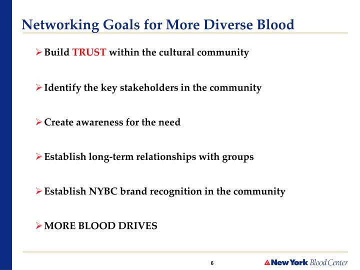 Networking Goals for More Diverse Blood