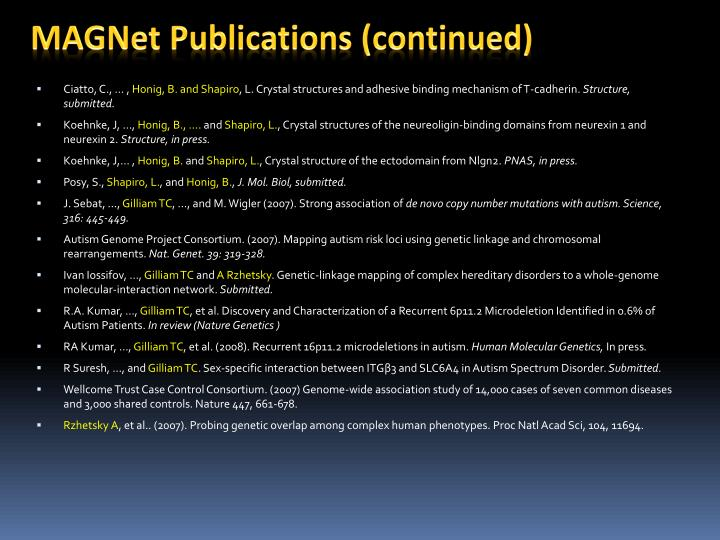 MAGNet Publications (continued)