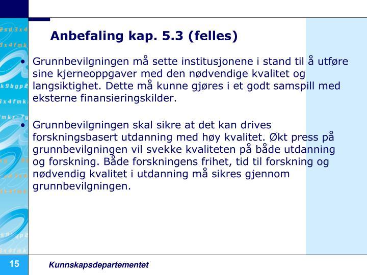 Anbefaling kap. 5.3 (felles)