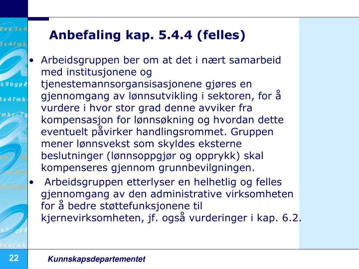 Anbefaling kap. 5.4.4 (felles)
