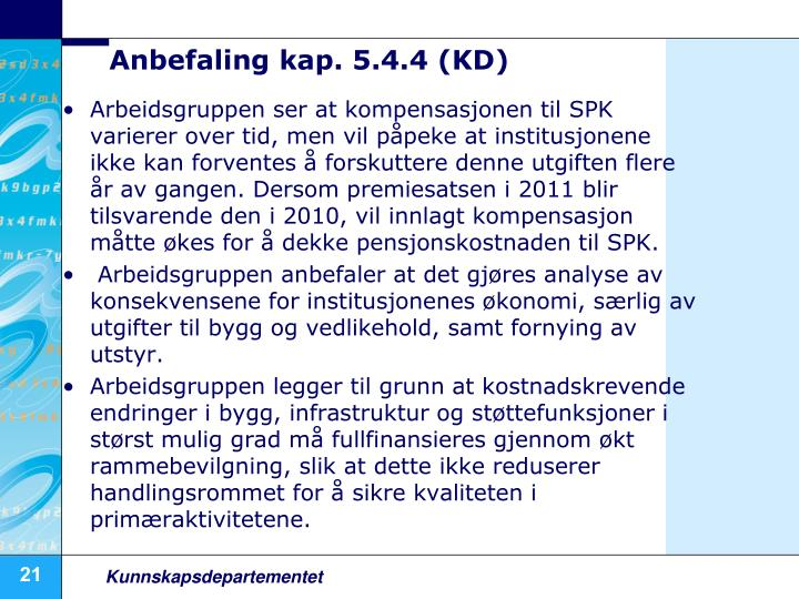 Anbefaling kap. 5.4.4 (KD)