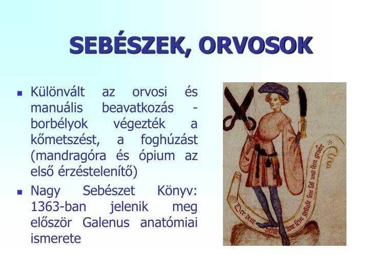 SEBÉSZEK, ORVOSOK