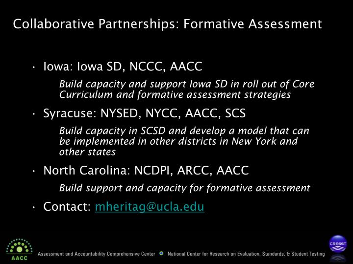 Collaborative Partnerships: Formative Assessment