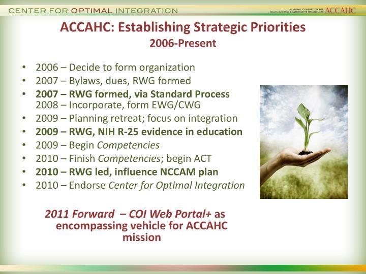ACCAHC: Establishing Strategic Priorities