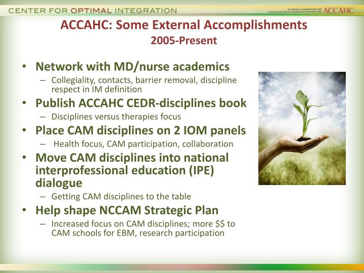 ACCAHC: Some External Accomplishments