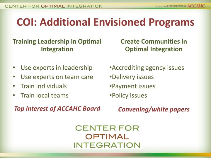 COI: Additional Envisioned Programs