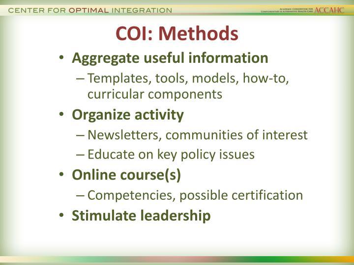 COI: Methods
