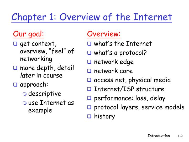 Chapter 1 overview of the internet