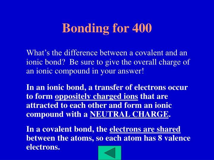 Bonding for 400
