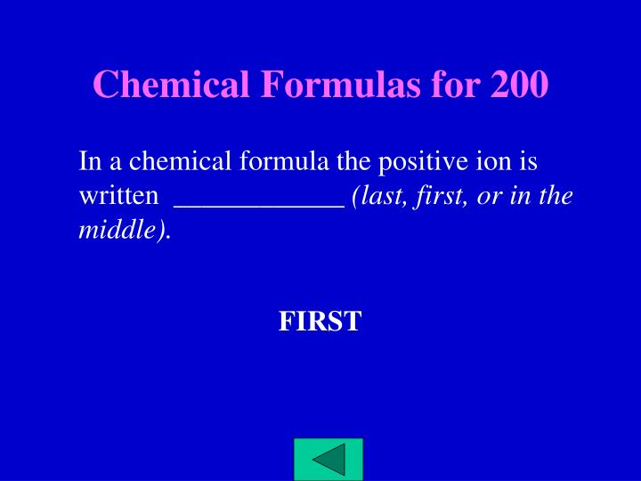 Chemical Formulas for 200