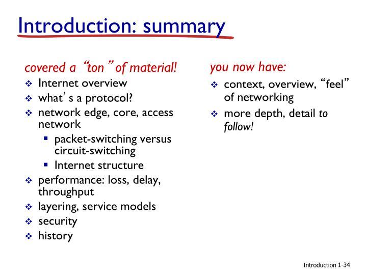 Introduction: summary