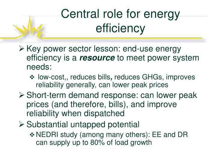Central role for energy efficiency