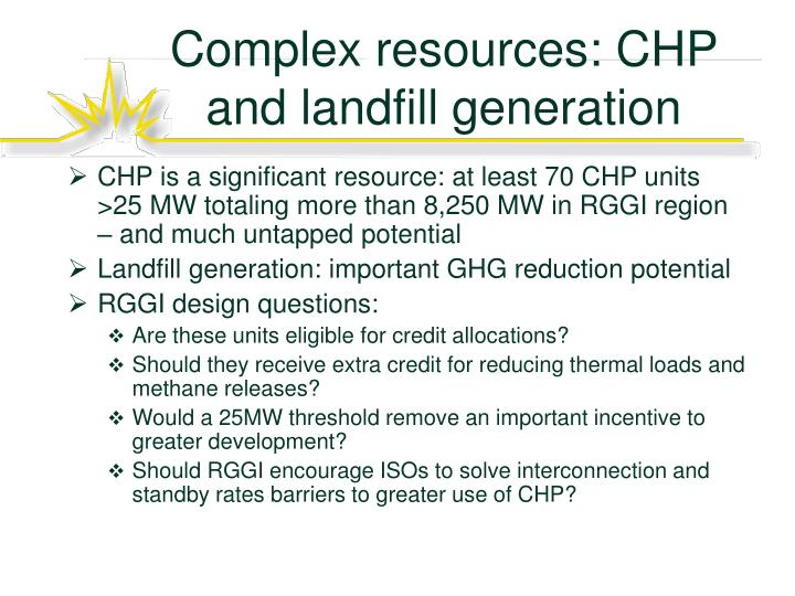 Complex resources: CHP and landfill generation