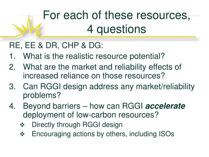 For each of these resources 4 questions