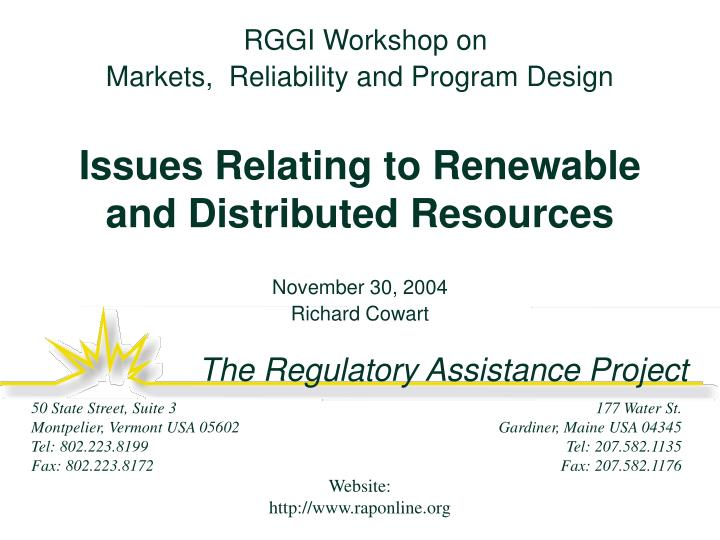 RGGI Workshop on