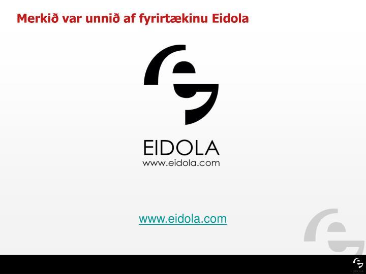 Merkið var unnið af fyrirtækinu Eidola