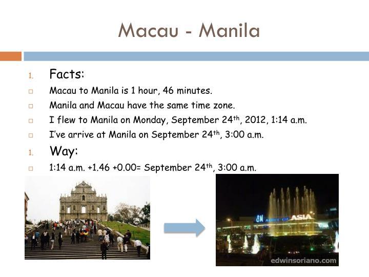 Macau - Manila