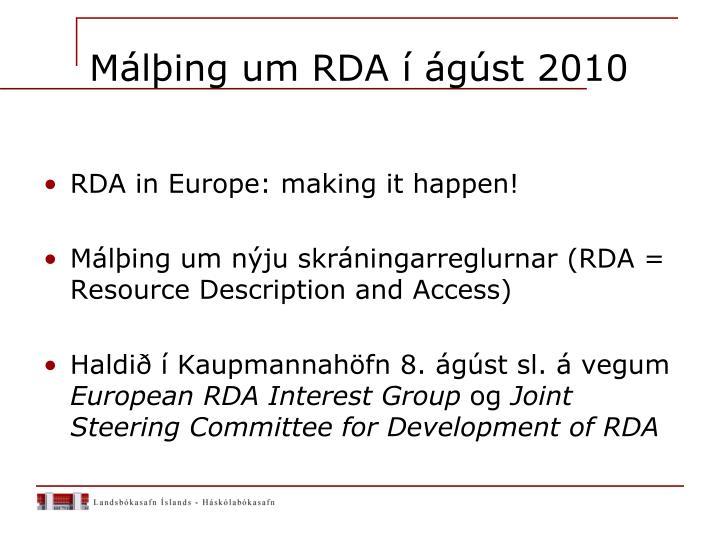 Málþing um RDA í ágúst 2010