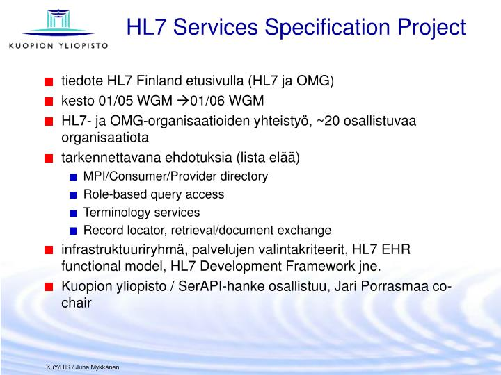 HL7 Services Specification Project