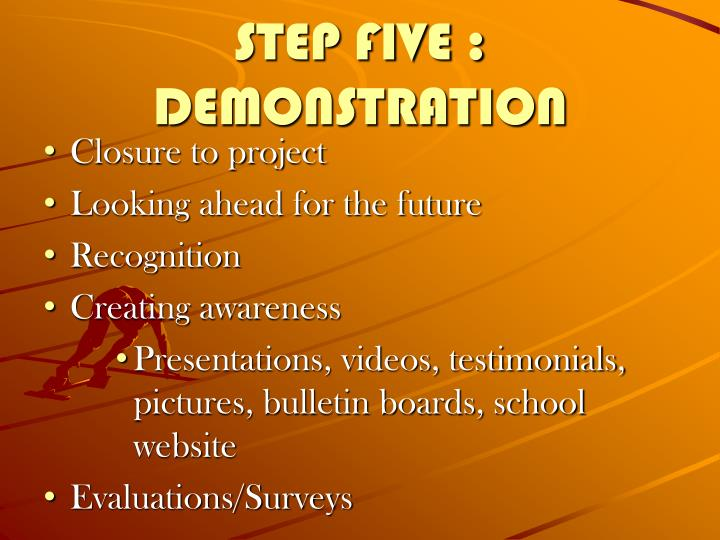 STEP FIVE : DEMONSTRATION