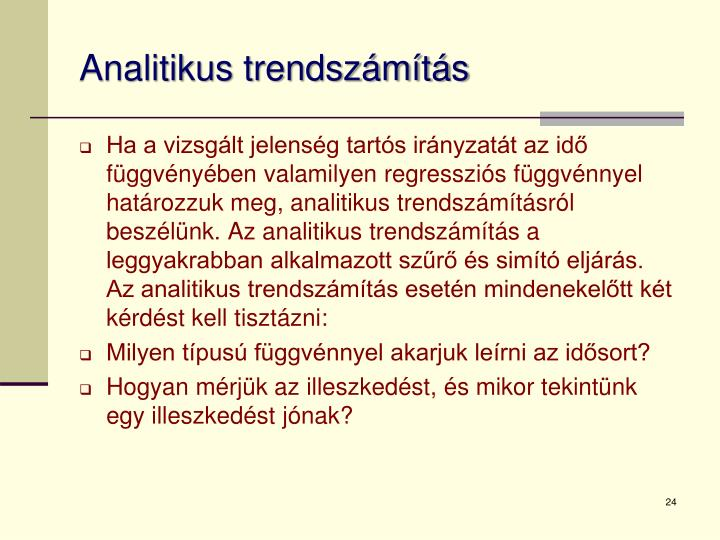 Analitikus trendszámítás