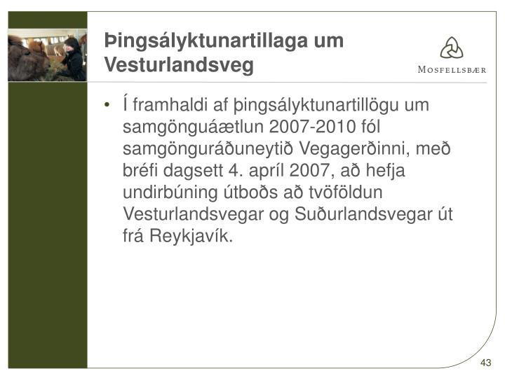 Þingsályktunartillaga um Vesturlandsveg