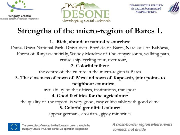 Strengths of the micro-region of Barcs I.