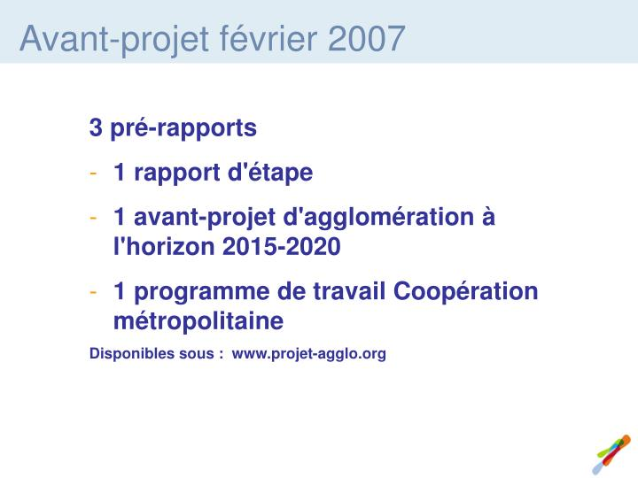 Avant-projet février 2007