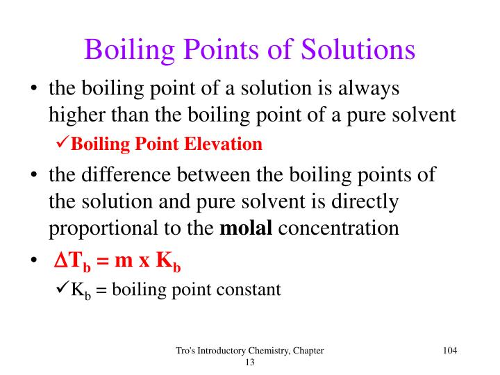 Boiling Points of Solutions