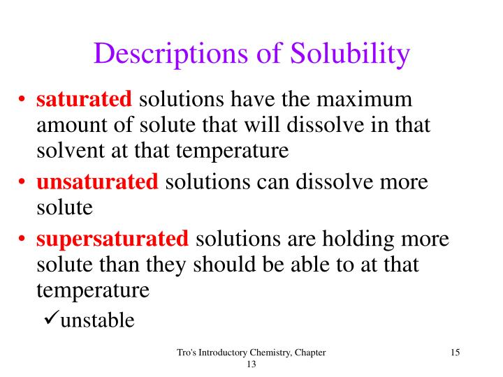 Descriptions of Solubility